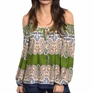 CAIMEE GREEN OFF SHOULDER PAISLEY TOP